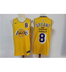 Men Los Angeles Lakers 8 Kobe Bryant Yellow Nike R.I.P Swingman Fashion Jersey