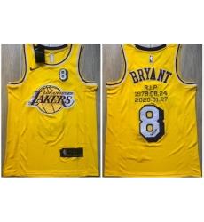 Men Los Angeles Lakers 8 Kobe Bryant Yellow R I P Signature Swingman Jersey