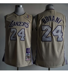 Men Los Angeles Lakers Kobe Bryant 24 Mitchell Ness Rice Yellow NBA Jersey