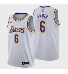 Men Los Angeles Lakers LeBron James #6 Jersey White 2021-22