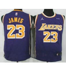 Men Men Los Angeles Lakers 23 LeBron James Purple 2021 Brand Jordan Swingman Stitched