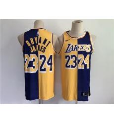 Men Men Los Angeles Lakers 24 Bryant 23 james purple yellow split special 2021 nike nba jerse