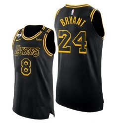 Men Men Los Angeles Lakers Front 8 Back 24 Kobe Bryant With 2 Gigi Patch Black Stit