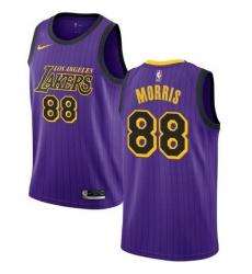 Men Nike Los Angeles Lakers 88 Markieff Morris Purple NBA Swingman City Edition 2018 19 Jersey