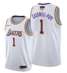 Men's Los Angeles Lakers #1 Kentavious Caldwell-Pope 2020 White Finals Stitched NBA Jersey