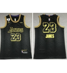 Men's Los Angeles Lakers #23 LeBron James 2020 Black City Edition With GiGi Patch Stitched NBA Jersey