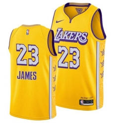 Men's Los Angeles Lakers #23 LeBron James 2020 Gold Finals Stitched NBA Jersey