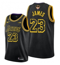 Men's Los Angeles Lakers #23 LeBron James 2020 Western Conference Champions Black Mamba Inspired Stitched NBA Jersey