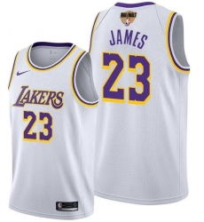 Men's Los Angeles Lakers #23 LeBron James White 2020 Finals Stitched NBA Jersey