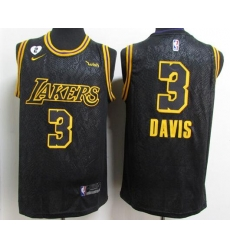 Men's Los Angeles Lakers #3 Anthony Davis 2020 Black City Edition With GiGi Patch Stitched NBA Jersey