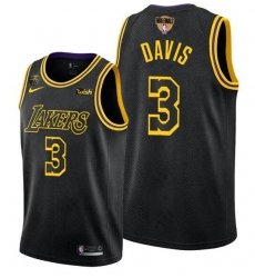 Men's Los Angeles Lakers #3 Anthony Davis 2020 Black Finals Stitched NBA Jersey