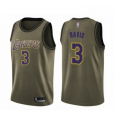 Mens Los Angeles Lakers 3 Anthony Davis Swingman Green Salute to Service Basketball Jersey