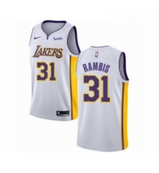 Mens Los Angeles Lakers 31 Kurt Rambis Authentic White Basketball Jersey Association Edition