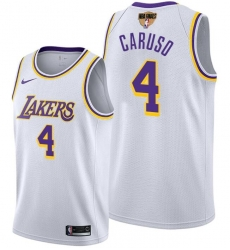 Men's Los Angeles Lakers #4 Alex Caruso 2020 White Finals Stitched NBA Jersey