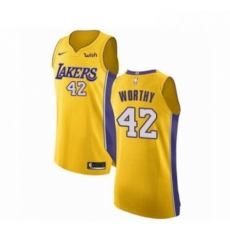 Mens Los Angeles Lakers 42 James Worthy Authentic Gold Home Basketball Jersey Icon Edition