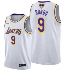 Men's Los Angeles Lakers #9 Rajon Rondo 2020 White Finals Stitched NBA Jersey