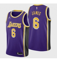 Men's Los Angeles Lakers LeBron James #6 Jersey Purple 2021-22
