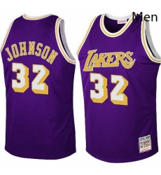 Mens Mitchell and Ness Los Angeles Lakers 32 Magic Johnson Authentic Purple Throwback NBA Jersey