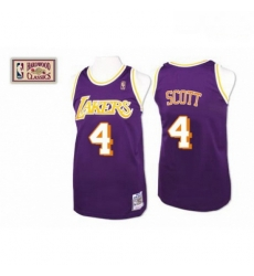 Mens Mitchell and Ness Los Angeles Lakers 4 Byron Scott Authentic Purple Throwback NBA Jersey