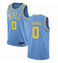 Mens Nike Los Angeles Lakers 0 Kyle Kuzma Authentic Blue Hardwood Classics NBA Jersey