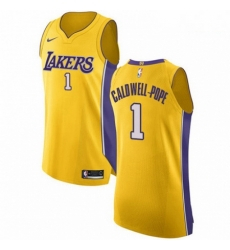 Mens Nike Los Angeles Lakers 1 Kentavious Caldwell Pope Authentic Gold Home NBA Jersey Icon Edition