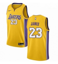 Mens Nike Los Angeles Lakers 23 LeBron James Swingman Gold NBA Jersey Icon Edition