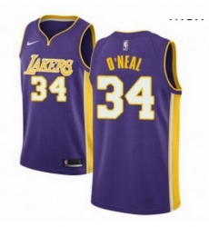 Mens Nike Los Angeles Lakers 34 Shaquille ONeal Authentic Purple NBA Jersey Icon Edition
