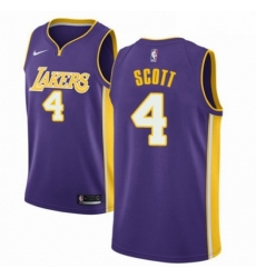 Mens Nike Los Angeles Lakers 4 Byron Scott Authentic Purple NBA Jersey Icon Edition