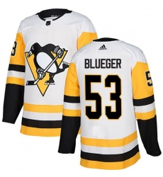 Men Penguins 53 Teddy Blueger White Authentic Stitched Hockey Jersey
