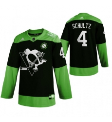 Men Pittsburgh Penguins 4 Justin Schultz Green 2020 Adidas Jersey