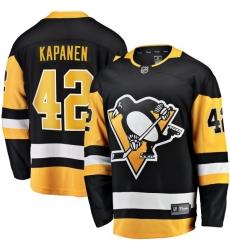 Men Pittsburgh Penguins 42 Kasperi Kapanen  Black Home Stitched NHL Jersey