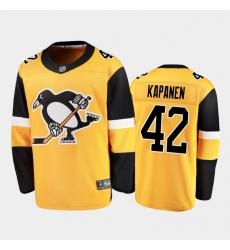 Men Pittsburgh Penguins 42 Kasperi Kapanen  Yellow Stitched NHL Jersey
