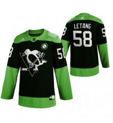 Men Pittsburgh Penguins 58 Kris Letang Green 2020 Adidas Jersey