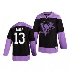 Penguins 13 Brandon Tanev Black Purple Hockey Fights Cancer Adidas Jersey