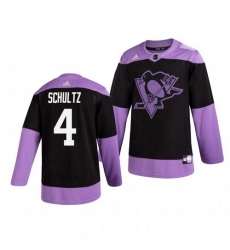 Penguins 4 Justin Schultz Black Purple Hockey Fights Cancer Adidas Jersey