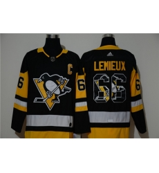 Penguins 66 Mario Lemieux Black Adidas Fashion Jersey