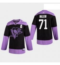 Penguins 71 Evgeni Malkin Hockey Fights Cancer Practice Black Jersey
