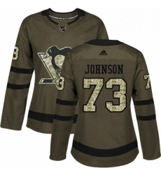 Womens Adidas Pittsburgh Penguins 73 Jack Johnson Authentic Green Salute to Service NHL Jersey