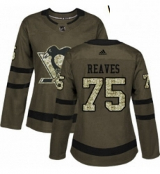 Womens Adidas Pittsburgh Penguins 75 Ryan Reaves Authentic Green Salute to Service NHL Jersey