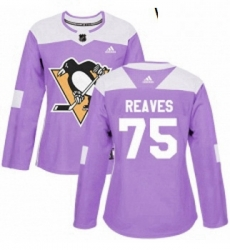 Womens Adidas Pittsburgh Penguins 75 Ryan Reaves Authentic Purple Fights Cancer Practice NHL Jersey