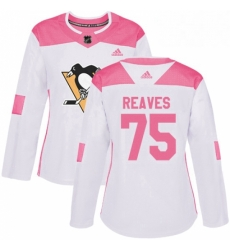 Womens Adidas Pittsburgh Penguins 75 Ryan Reaves Authentic WhitePink Fashion NHL Jersey