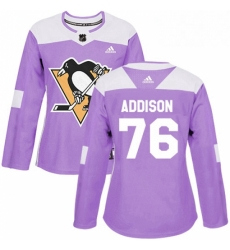 Womens Adidas Pittsburgh Penguins 76 Calen Addison Authentic Purple Fights Cancer Practice NHL Jersey