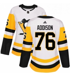 Womens Adidas Pittsburgh Penguins 76 Calen Addison Authentic White Away NHL Jersey