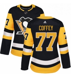 Womens Adidas Pittsburgh Penguins 77 Paul Coffey Authentic Black Home NHL Jersey