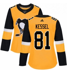 Womens Adidas Pittsburgh Penguins 81 Phil Kessel Authentic Gold Alternate NHL Jersey