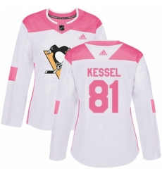 Womens Adidas Pittsburgh Penguins 81 Phil Kessel Authentic WhitePink Fashion NHL Jersey