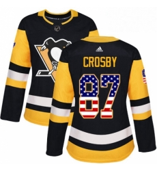 Womens Adidas Pittsburgh Penguins 87 Sidney Crosby Authentic Black USA Flag Fashion NHL Jersey