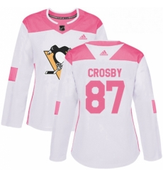 Womens Adidas Pittsburgh Penguins 87 Sidney Crosby Authentic WhitePink Fashion NHL Jersey