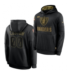 Men Custom Men Las Vegas Raiders 2020 Salute To Service Black Sideline Performance Pullover Hoodie