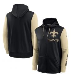 Men New Orleans Saints Black Gold Fan Gear Mascot Performance Full Zip Hoodie